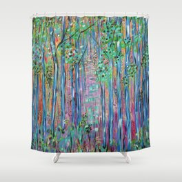 Teal Blue Abstract Forest Landscape, Forest Secrets, Fantasy Fairy Art Shower Curtain