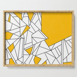 Black and Yellow geometric pattern Serving Tray