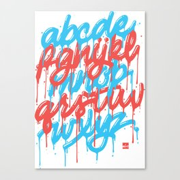 Dripset Alphabet - Blue on Red Canvas Print