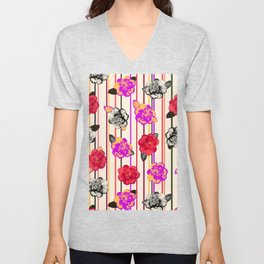 Gothic Camellias Unisex V-Neck