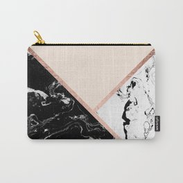 Modern black white marble rose gold color block stripes blush pink Carry-All Pouch