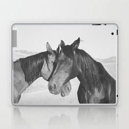 Horse Hug in Black and White Laptop & iPad Skin