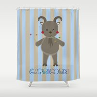 capricorn Shower Curtains featuring Capricorn by Esther Ilustra