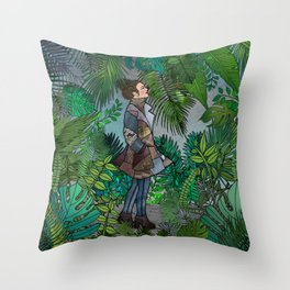 A Winter Walk in a Tropical Greenhouse Throw Pillow