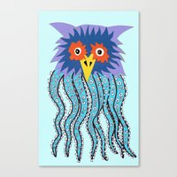 cthulu Canvas Prints featuring the owl of cthulu by ronnie mcneil