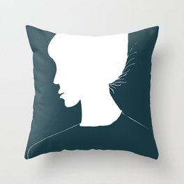 Female Profile Modern Cameo Throw Pillow