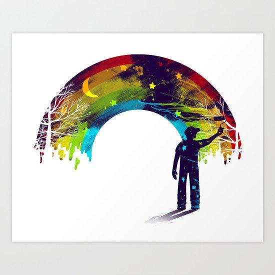 Midnight Rainbow Painter Art Print