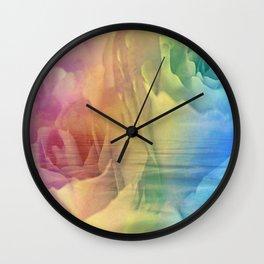 Rainbow Rose Water Abstract Wall Clock
