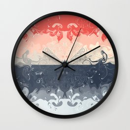 Coral and Blues Acrylic Pour Wall Clock
