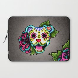 Smiling Pit Bull in White - Day of the Dead Pitbull Sugar Skull Laptop Sleeve