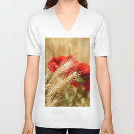 Field of golden wheat with red poppy flowers Unisex V-Neck