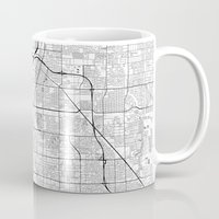 las vegas Mugs featuring Las Vegas Map Gray by City Art Posters