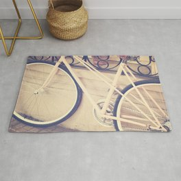 Pierina's Pink Bicycle  - Retro and Vintage Photography Rug