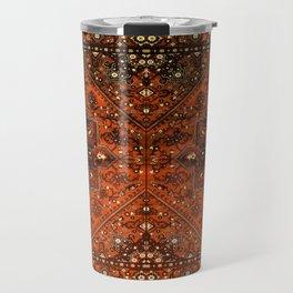 N151 - Orange Oriental Vintage Traditional Moroccan Style Artwork Travel Mug