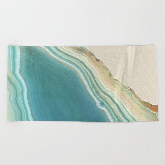 Geode Turquoise + Cream Beach Towel