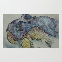 hippo Area & Throw Rugs featuring Hippo by SamKellyArt