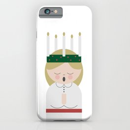 Cartoon girl with candles at Saint Lucy at Christmas iPhone Case