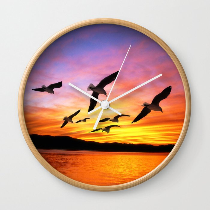Seagull Sunset Wall Clock By Gx9designs Society6