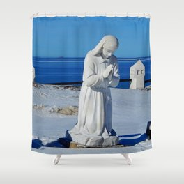 Religious Statues by the Sea Shower Curtain
