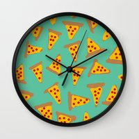pizza Wall Clocks featuring pizza by AshlynDrake