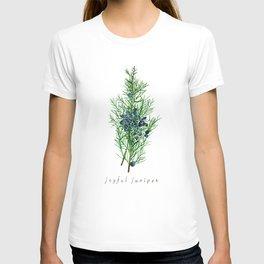 Joyful Juniper Plant Watercolor Painting Illustration T-shirt