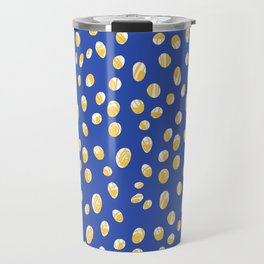 Polka Dot illustration of flowers in simple, colorful design/ blue and yellow botanical wall art Travel Mug