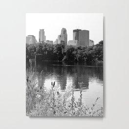 Minneapolis Minnesota Skyline and Reflections Black and White Metal Print