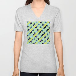 Chocktaw Geometric Square Cutout Pattern - Electric Ray Unisex V-Neck
