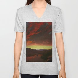 "Frederic Edwin Church ""Twilight in the Wilderness"" Unisex V-Neck"