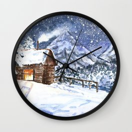 Little wooden house in winter forest Wall Clock
