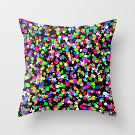 Multicoloured Ink Splodges With Tiny Butterflies Throw Pillow