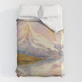 Matterhorn with Rainbow - Swiss Mountain Landscape Duvet Cover