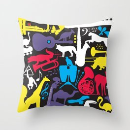 Jazz Zoo Throw Pillow