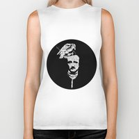 edgar allan poe Biker Tanks featuring Edgar Allan Poe collage by GraphicDivine