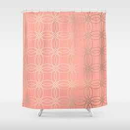Simply Vintage Link in White Gold Sands and Salmon Pink Shower Curtain