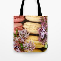 macaroons Tote Bags featuring Pretty Macaroons by Olivia Joy StClaire