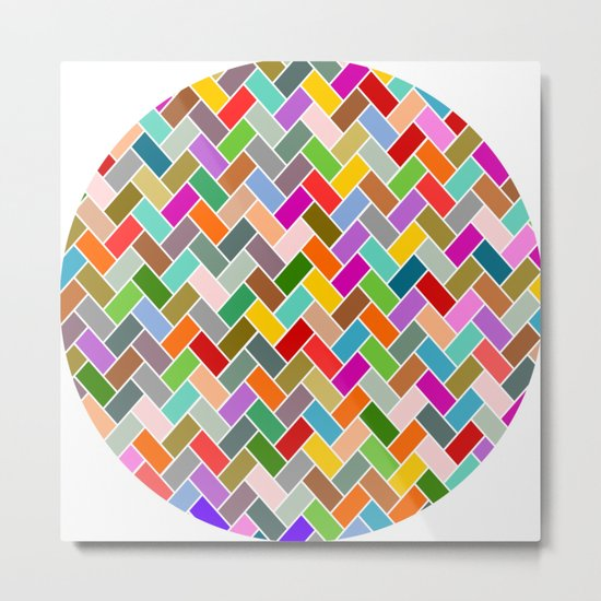 Colourful Tiled Mosaic Pattern Metal Print