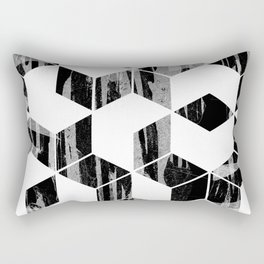 Elegant Black and White Geometric Design Rectangular Pillow