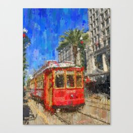 New Orleans Trolley Bus Canvas Print