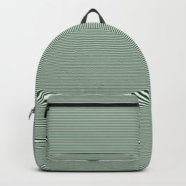 Mini Forest Green and White Rustic Horizontal Pin Stripes Backpack