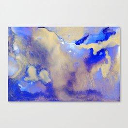 Gold & Royal Blue Abstract Ink Art Canvas Print