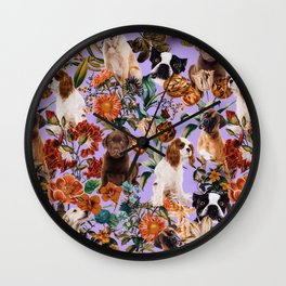 Dog and Floral Pattern Wall Clock