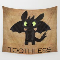 toothless Wall Tapestries featuring Toothless  by Walko