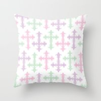 pastel goth Throw Pillows featuring Pastel Goth by Glitterati Grunge