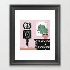 Cat Clock  Framed Art Print
