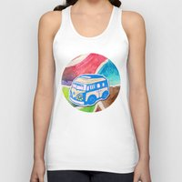 vw bus Tank Tops featuring VW Bus Campervan by Carrie at Dendryad Art