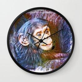 Cute Chimpanzee Baby Wall Clock