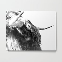 Black and White Horns Metal Print