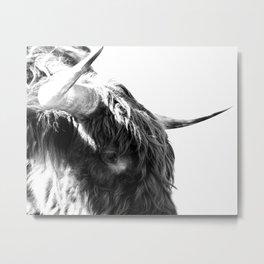Black and White Horns Metal Print