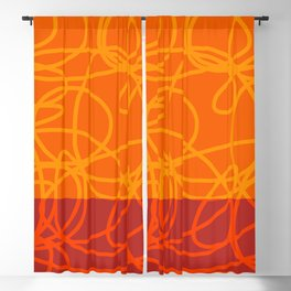 Chaos Lines On Red Orange Horizon Minimal Abstract Art Dalim Blackout Curtain